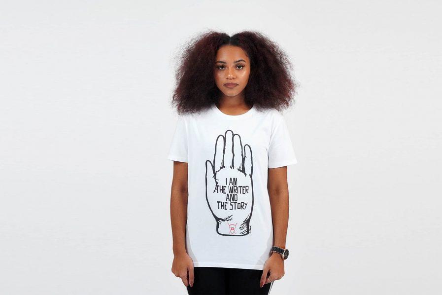 T-shirt EBAMI HAND WRITER blanc - Young Nation 1